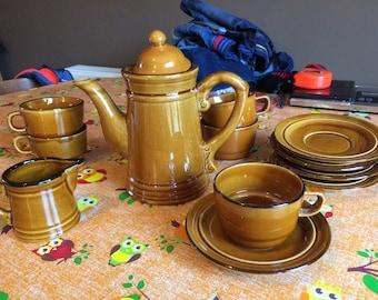 Vintage Brown ware Tea Set, Coffee Pot, 4 Cups & Saucers, Milk Jug