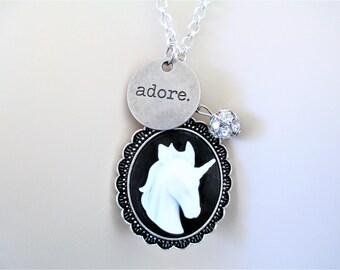 Unicorn Cameo Necklace, Unicorn Necklace With Adore Charm, Unicorn Cameo Pendant Necklace
