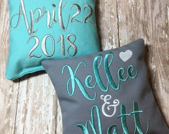 CORN Game Bags, Wedding, Corn Hole, Embroidered, Monogrammed, Bean Bags, Set of 8, Custom Bags, Initials and Date of Wedding, CORN
