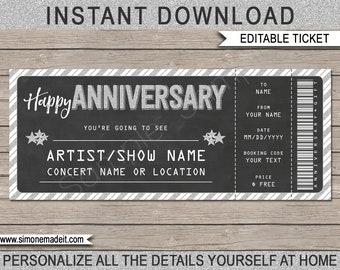 Printable Concert Ticket - Anniversary Gift Voucher, Certificate - Surprise Concert, Show, Band - INSTANT DOWNLOAD - EDITABLE text