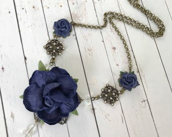 Navy Blue Rose Flower Necklace with Crystal Bead and Rhinestone Accents // Romantic Victorian Style Jewelry // Bridesmaid Gift Idea