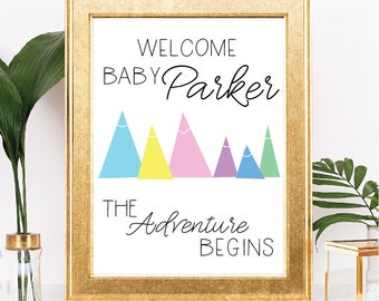 Mountain Welcome Baby - Printable Shower Sign - Customizable Text - The Adventure Begins Theme - 8.5x11 Digital Download
