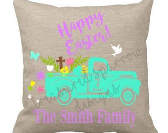 Happy Easter, He lives, Personalized Pillow, home decor, pillow cover and pillow form, tan, Easter pillow, Easter home decor