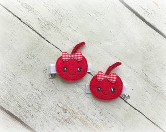 Cherry hair clip Baby hair clip Fruit hair clip soft clippie Pick one or two. Pick Left side or Right.