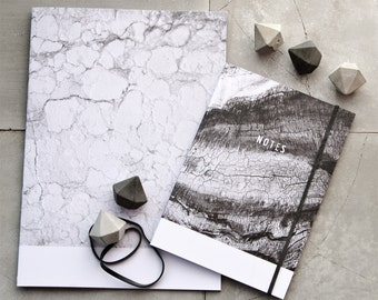 Textures by Nature Gift Set, Mix & Match, Concrete Diamond Push Pins, Recycled Paper Notebook, A5 Marble, A6 Wood Minimalist Stationery
