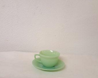 Vintage Jadeite Cups & Saucer, Jay Ray, Anchor hocking, Green Jadite, Collector Jadeite, Retro Jadeite, Vintage Jadite, Vintage Kitchen