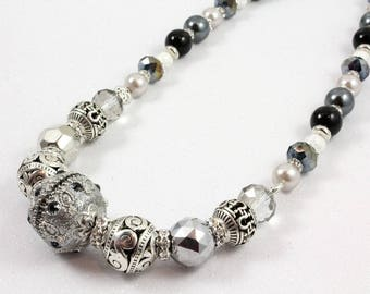 Gray and Silver Glitter Necklace, Shades of Gray, Winter Necklace, Pearl and Crystal Necklace, New Years Eve