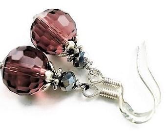 Sterling Silver Burgundy Earrings Crystal Jewelry Bridesmaid Earrings Wedding Jewelry Vintage Style Danglel Earrings For Her Bridesmaid Gift