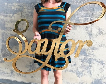 Gold Mirror Baby Name Room Decoration, Gold Above the Crib Nursery Decor
