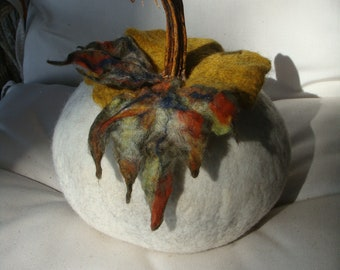 WET FELTED PUMPKIN - Hand dyed wool, real pumpkin stem, Halloween, Autumn, Fall