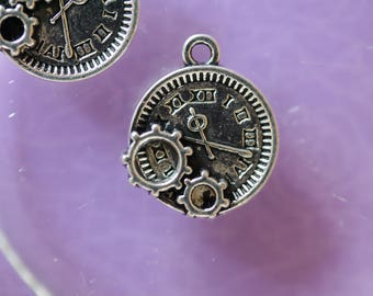 Watch gears silver charm
