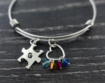 Autism Bracelet / Puzzle Piece Bracelet  / Love Needs No Words / Autism Awareness Bracelet / Austism Mom / Wire Bangle Bracelet