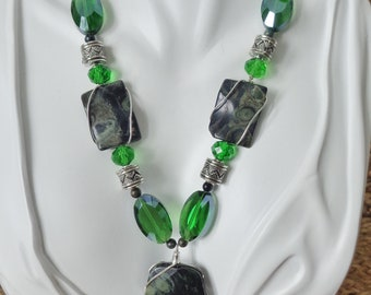 Kambaba Jasper stone and crystals handmade and wrapped.