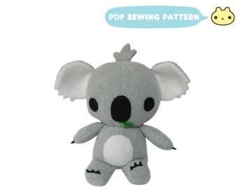 Koala Sewing Patterns, Koala Bear Toy, Koala Stuffed Animal Pattern, Stuffed Animal Pattern, Koala Toy Pattern, Baby Koala, Koala Toy Sewing