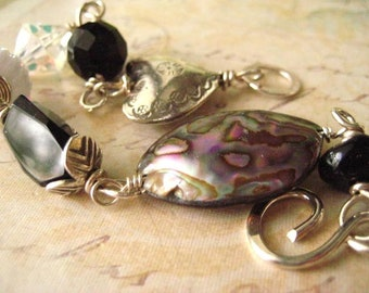 Abalone Bracelet, Sterling Silver,  Hill Tribe Heart, Sterling Heart, Vintage Crystal, Vintage Beads, Handmade Clasp, candies64