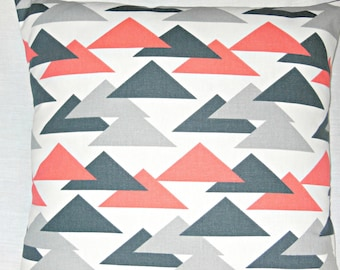 Gray Coral Throw Pillow COVERS Retro Triangles Charcoal Gray Salmon Couch Pillow Bedding Sham Retro Like Decorative Pillow Home Decor Accent