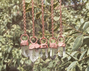 Raw Quartz Crystal Necklace Copper Necklace Electroformed Necklace Clear Quartz Jewelry Healing Metaphysical Crystal Point