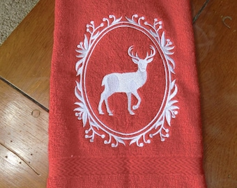 Embroidered Terry Hand Towel - Deer Cameo