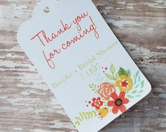 Thank you for coming bridal shower tag, Floral Bridal Shower, Wedding Shower, Baby Shower, Spring Shower, Floral Tags (167)