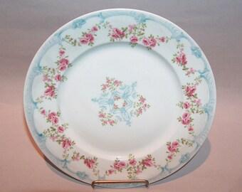 8574: Limoges France Wm Guerin Cabinet Plate Pink Roses Hand Painted Signed Antique Porcelain at Vintageway Furniture