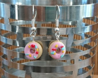 Pale pink DONUTS polymer clay earrings