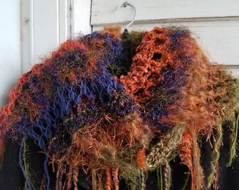 OOAK BOHO Hand Knit Shawl Scarf Wrap