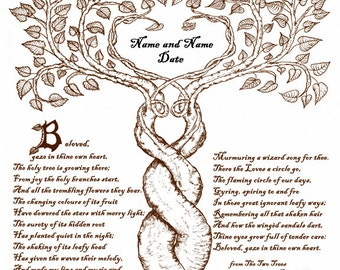 Two Trees Marriage Custom Wedding Print Handfasting Certificate Sepia 11x14 Wall Art Personalized Anniversary Renew Vows Valentine's Day