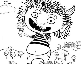 Monster eating veggies - Coloring page, print youself, instant download, kids of all ages, kid activity sheet