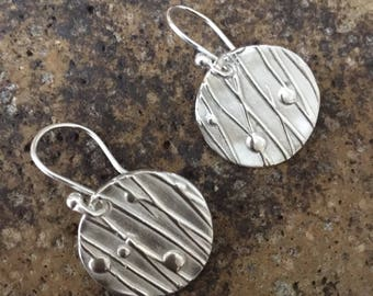 Fine Silver Line and Dot Pattern Circular Earrings - available for immediate dispatch!  Ideal for Mother's Day!
