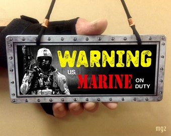 Warning Marine On Duty Sign | USMC Gift | Ceramic Wall Sign, Marine Corps Wife Gift, Patriotic Decor, Semper Fidelis, Best Military Gift