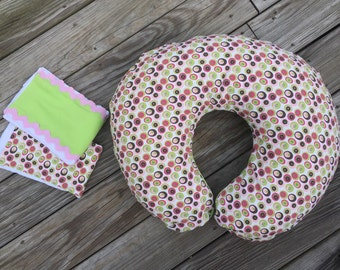 Preppy Pink and Green Dots Boppy Cover and Burp Cloth Gift Set