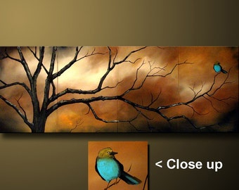 A Quiet Evening Whimiscal Bird with Earth Tones Semi Abstract ART byDROB 20 x 64 x 1.5  Pick any kind of bird