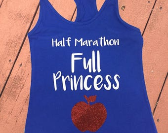 Half Marathon, Full Princess   Princess Snow White Women's Disney Tank Top   Disney Snow White Disney Running Shirt   Run Disney Tank Top