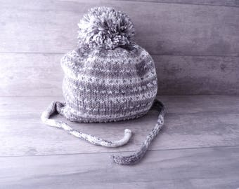 Peruvian winter wool hat large Pompom for baby 18 months - mixed - knitted handmade in France