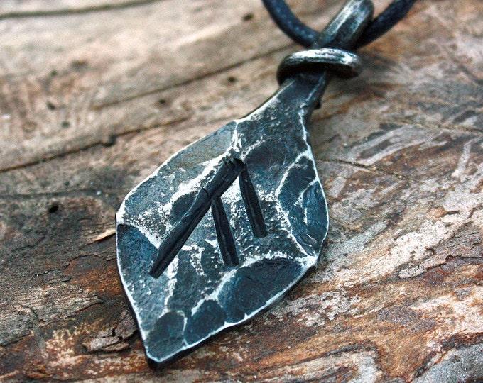 Forged Iron Ansuz Oss Rune Viking Amulet Runic Nordic Pendant Talisman Necklace