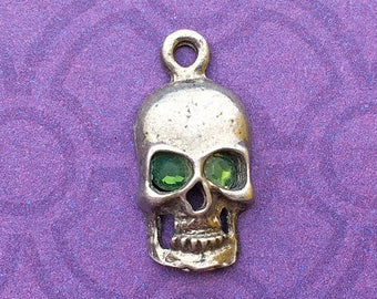 Handmade Skull Charm with Fern Green Crystal Eyes, Lead Free Pewter, about 17mm x 9mm