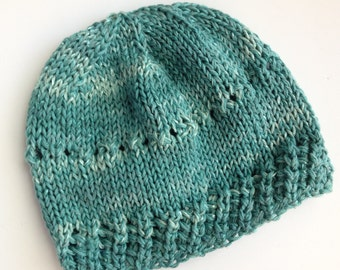 Teal Green Handknit Cottonblend Hat for Baby. One of a Kind.