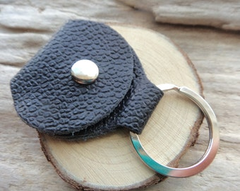Leather Guitar Pick Case Holder-  Textured Black Leather Pick Keychain Snap Case Player Gift