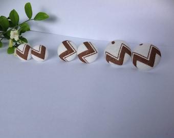 Handmade Brown & White Chevron Fabric Button Earrings