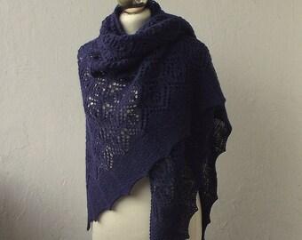 hand knitted  alpaca shawl , navy blue knit shawl