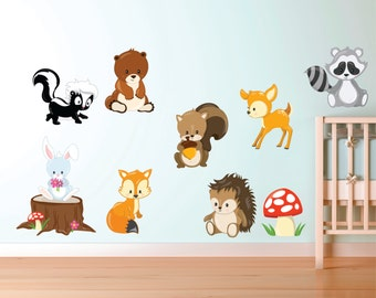 Woodland Animal Decals - Forest Animal Fabric Decals - Woodland Animal Wall Decals - Kids Wall Decals - Re Useable