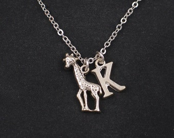 giraffe necklace, sterling silver filled, initial necklace, silver cute giraffe charm, animal jewelry, kids necklace, giraffe pendant, gift