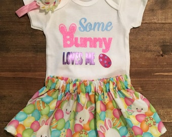Some Bunny Love Me Outfit, Easter Outfit, Baby Easter Outfit, Easter Skirt, Easter Onesie, Easter Baby