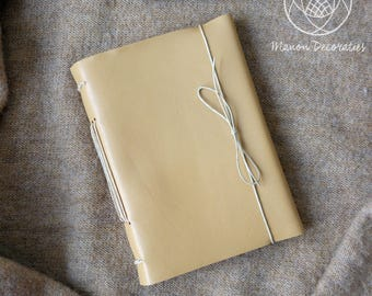Handmade Travel Journal | recycled leather | upcycling (SANDY YELLOW)