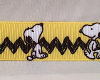 """Snoopy 7/8"""" Printed Ribbon, Peanuts Ribbon"""