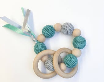 Rattle, teether wood and cotton, model green turquoise and gray