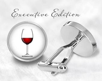 Red Wine Glass Cufflinks - Wine Cufflinks - Wineglass Cufflinks - Vino Cufflinks Cuff Links (Pair) Lifetime Guarantee (S0964)
