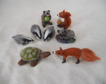 needle felted animal, medium felt animals, needle felted, play mat animals, waldorf, pre school, nursery school, kindergarten