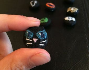 Black Cat - Witch's Cat - Halloween Button/Pin