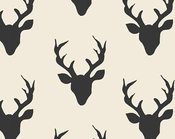 Hello Bear fabric, Woodland Quilt fabric, Woodland Blanket fabric, Deer Fabric, Buck Forest Night, Ivory fabric, Choose the cut